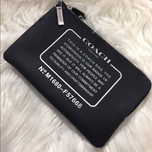 """NWT Coach Black Leather """"Serial Number"""" Clutch"""